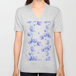 Elegant blue violet watercolor hand painted floral Unisex V-Neck