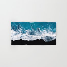 Black sand beach with waves and blue Ocean in Iceland – Minimal Photography Hand & Bath Towel