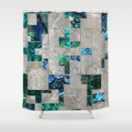 Abstract Geometric Abalone and Mother of pearl Shower Curtain