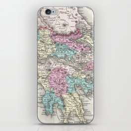 Vintage Map of Greece (1855) iPhone Skin