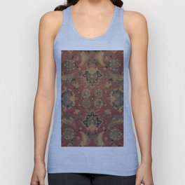 Flowery Boho Rug V // 17th Century Distressed Colorful Red Navy Blue Burlap Tan Ornate Accent Patter Unisex Tank Top