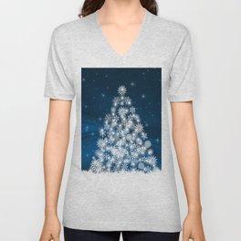 Blue Christmas Eve Snowflakes Winter Holiday Unisex V-Neck