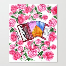 Accordion with pink roses Canvas Print