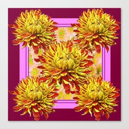 Stylized Abstracted Burgundy Yellow Chrysanthemums Floral Canvas Print