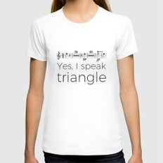 I speak triangle LARGE Womens Fitted Tee White