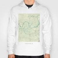 nashville Hoodies featuring Nashville Map Blue Vintage by City Art Posters