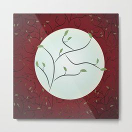 Full Moon with Leaves (Red) Metal Print
