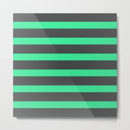 Green Turquoise Stripes on Gray Background Metal Print