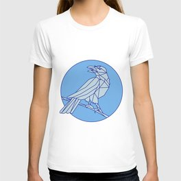 Crow Perching Looking Side Circle Mono Line T-shirt