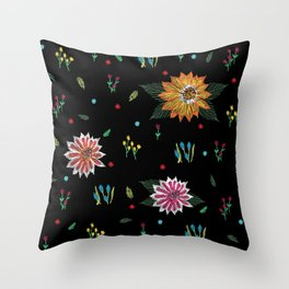Digital Flora Throw Pillow