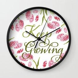 Keep Growing, Knotweed Wildflowers Wall Clock