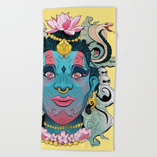 Hindu God Shiva Beach Towel