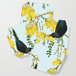 Tuis in the Kowhai Flowers Coaster