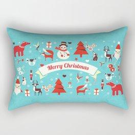 Christmas icons illustration Rectangular Pillow