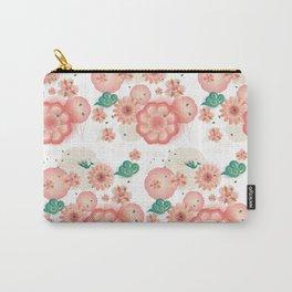 Elegant Floral Ornament, Spring Peach Garden, Decorative Pink Flowers, blossom sakuras BOHO pattern Carry-All Pouch