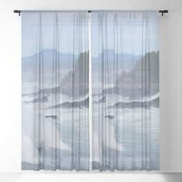 Crashing Waves In Blue Sheer Curtain