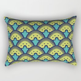 Fan Pattern Chartreuse Blue and Turquoise 991 Rectangular Pillow