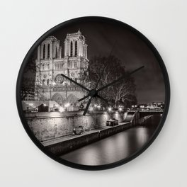 Notre Dame Cathedral, Paris, France on the River Seine black and white photograph / art photography Wall Clock