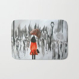 The Girl In The Red Rain Coat (Part 3)  Fine Art Acrylic Painting Bath Mat