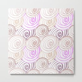Abstract pink pattern. Hand painted lines, rounds and circles on white background. Metal Print