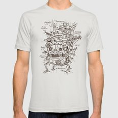 Howl's Moving Castle Plan Mens Fitted Tee MEDIUM Silver
