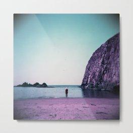 Lonely Purple Girl on the Oregon Coast - Holga film photograph Metal Print