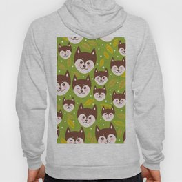 seamless pattern funny brown husky dog and leaves, Kawaii face with large eyes and pink cheeks Hoody