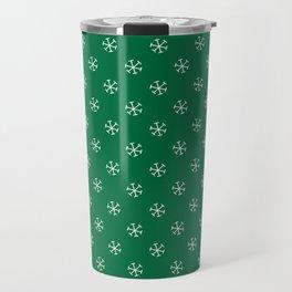 White on Cadmium Green Snowflakes Travel Mug