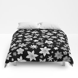 Black and White Watercolor Flower Pattern Comforters