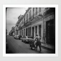 Man Pushing Cart, Havana Art Print