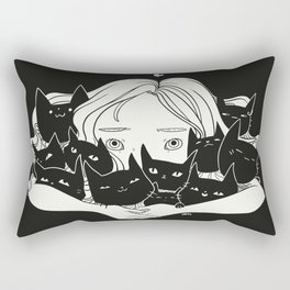Anime Girl Hugging Many Black Cats Rectangular Pillow