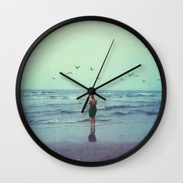Woman on the Beach Wall Clock