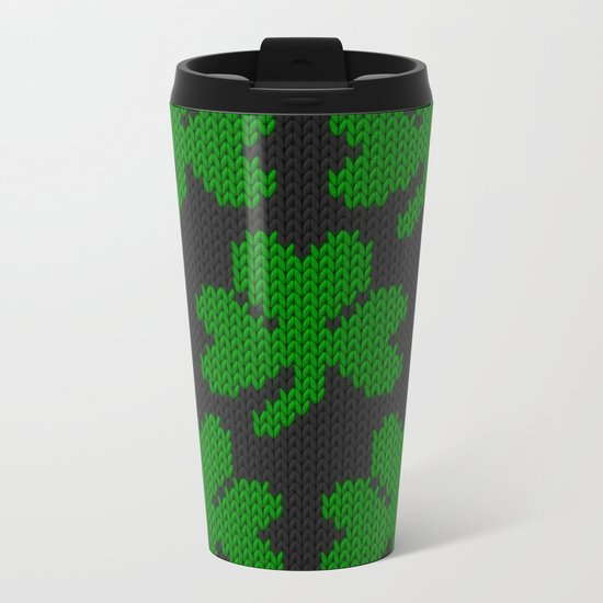 Shamrock pattern - black, green Metal Travel Mug