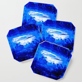 cloudy sky blue turquoise splatter watercolor Coaster