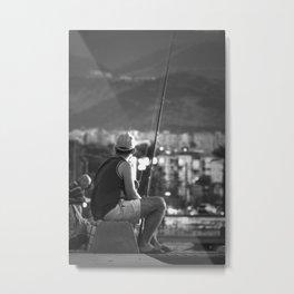 Fishing at seaside in Izmir (Turkey) - black and white Metal Print