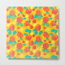 Roses and dots pattern (yellow) Metal Print