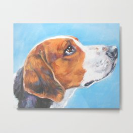 A realistic American Foxhound portrait by L.A.Shepard fine art painting Metal Print