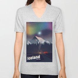 Iceland Northern lights travel poster Unisex V-Neck