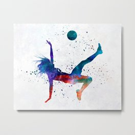 Woman soccer player 08 in watercolor Metal Print