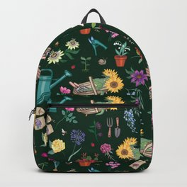 Grow Flowers Gardening Pattern on Dark Backpack