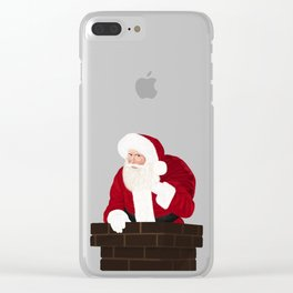 Santa Claus In Chimney Clear iPhone Case