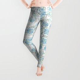 Blue flower garden watercolor Leggings
