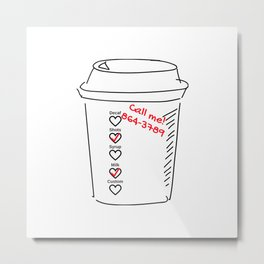Coffee Cup Romance Metal Print