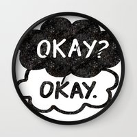 tfios Wall Clocks featuring OKAY?OKAY THE FAULT IN OUR STARS TFIOS HAZEL AUGUSTUS CLOUDS by monalisacried