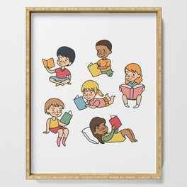 Kids Reading Books Serving Tray