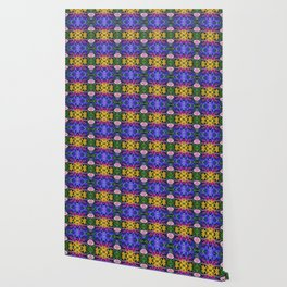 Floral Spectacular: Blue, Plum, Gold - square repeating pattern, Olbrich Botanical Gardens, Madison Wallpaper