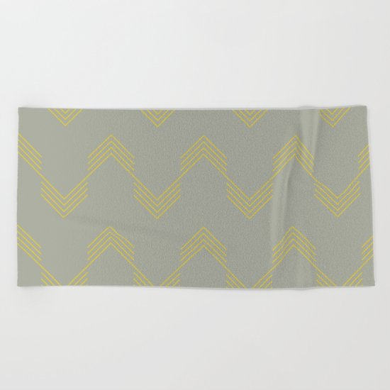 Simply Deconstructed Chevron Mod Yellow on Retro Gray Beach Towel