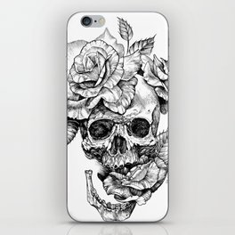 Black and White skull with roses pen drawing iPhone Skin