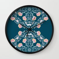folk Wall Clocks featuring Folk by katharine stackhouse