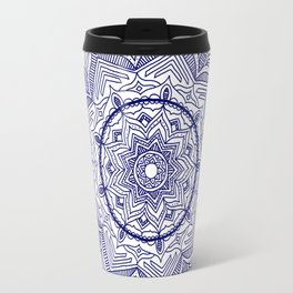Blue Flower Mandala Travel Mug